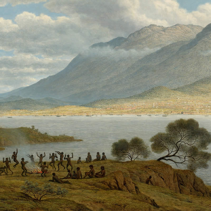 Mount Wellington and Hobart Town from Kangaroo Point by John Glover (detail). Image: Google Art Project.
