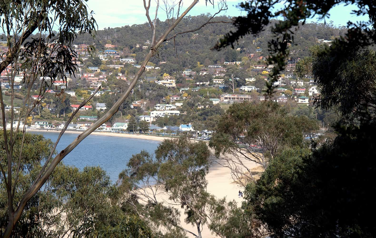View of Kingston Beach from Alum Cliffs Track. Photo: Kingborough Council.